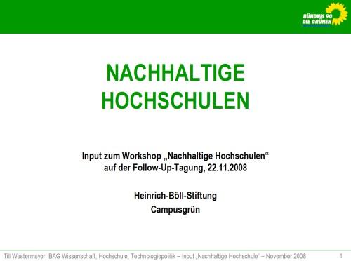 Titel »Nachhaltige Hochschulen«
