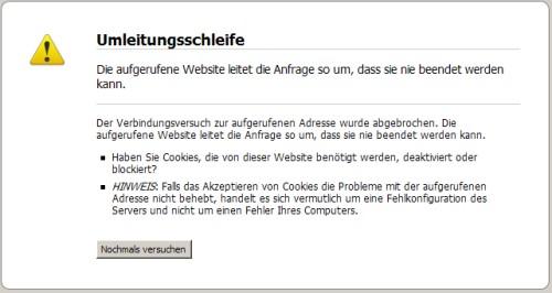 Fehlermeldung Firefox