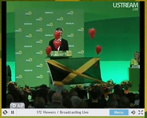 Jamaika-Aktion der Grünen Jugend während der Rede von Hubert Ulrich