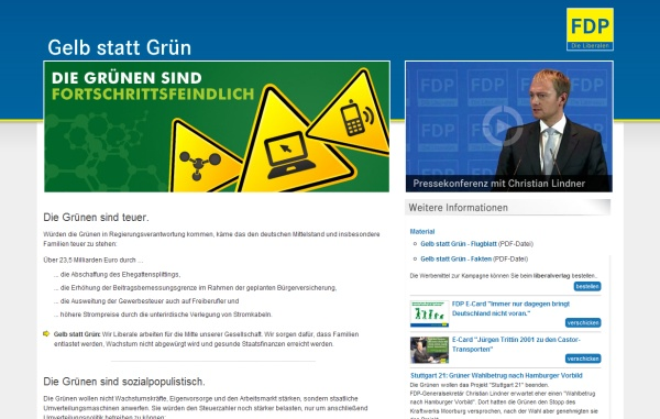 """Screenshot """"Gelb statt grün"""", http://www.gelb-statt-gruen.de"""