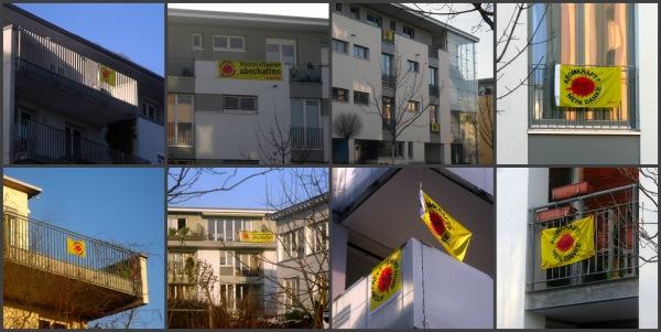 Das Rieselfeld zeigt Flagge gegen Atomkraft