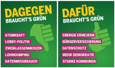 Grüne Kampagne: Dagegen/dafür braucht