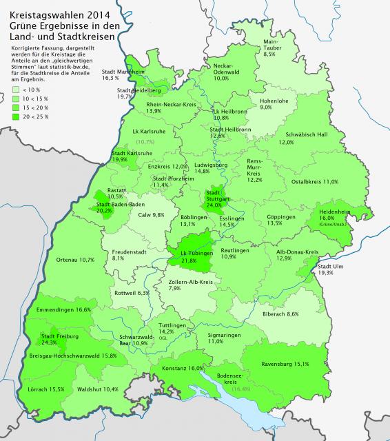Kreistagswahlen 2014: Grüne Ergebnisse in den Land- und Stadtkreisen