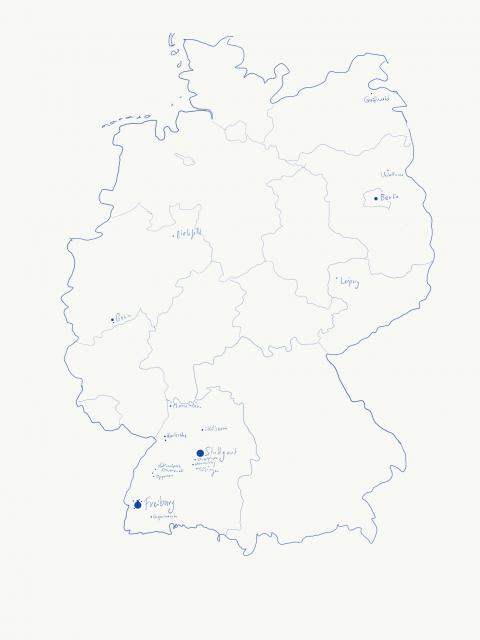 Deutschlandkarte mit meinen Orten 2019